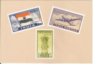 1947  # 200-202  India Stamp Photo on Card Reproduced By P&T Dept.Postcard 01473