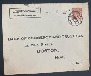 1928 London England Barkley's Bank Commercial Cover To Boston MA Usa