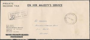 SOLOMON IS 1977 local OHMS cover POSTAGE PAID cds, Inland Revenue...........5959