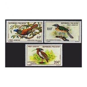 Malagasy C72-C74,MNH.Michel 499-501. Helmet bird,Pitta roller,Crested wood Ibis.