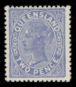 AUSTRALIA - Queensland QV SG204, 2d blue (retouched plate), LH MINT.
