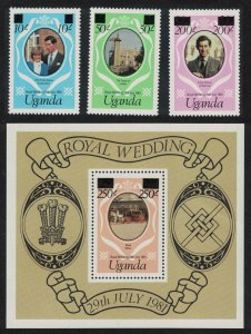 Uganda Charles and Diana Royal Wedding 3v+MS overprinted SG#341e-344e