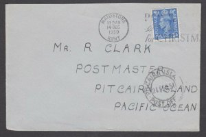 PITCAIRN 1951 inwards cover from GB with cds on front.......................M527