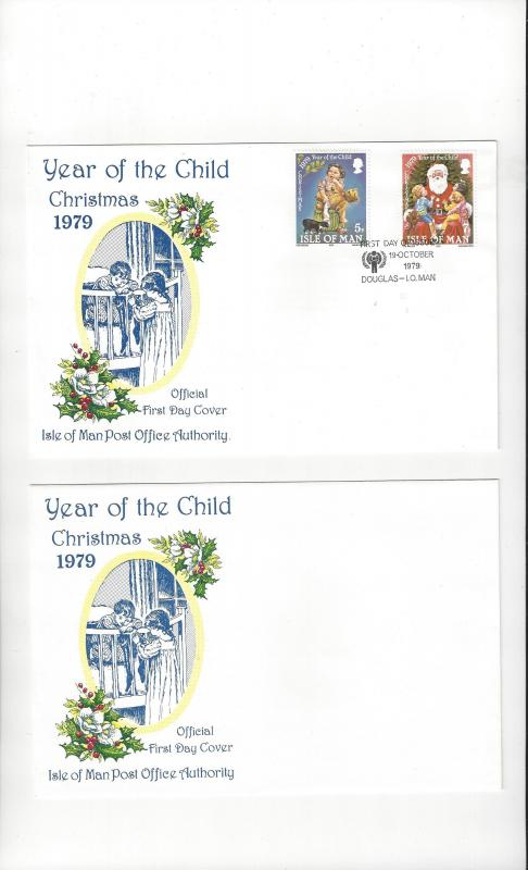 Isle of Man FDC 156-57 Year of the Child/Christmas Official Cachet