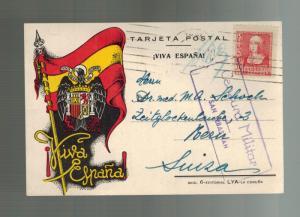 1938 San Sebastian Spain Civil War Postcard Cover to Switzerland