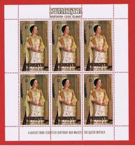 Penrhyn Island #117 MNH OG sheet of 6 Queen Mother  Free S/H