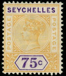 SEYCHELLES SG33, 75c yellow & violet, M MINT. Cat £55.