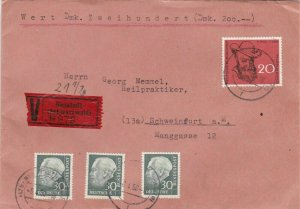 GEORG MEMMEL TWO REGISTERED COVERS 1957 / 58 , WITH RUDOLF WOLLMANN WAX SEALS