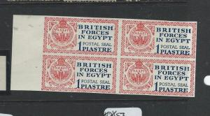 BRITISH FORCES IN EGYPT (P2502B) SGE1 VAR IMPERF BL OF 4 MNH