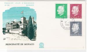 Monaco 1980 Principality of Monaco Castle Picture FDC 3 x Stamps Cover Ref 26421