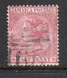 Jamaica Sc 13 1872 1/2d claret Victoria stamp used