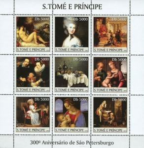 SAO TOME E PRINCIPE 2003 SHEET ANNIVERSARY ST. PETERSBURG ART PAINTINGS st3317