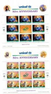 United Nations New York Scott #688-689 50th Anniversary of UNICEF Pane of  8 MNH