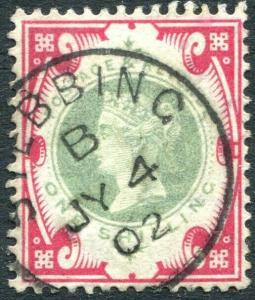 1887-1900  1/- Green & Carmine cds Sg 214  VERY FINE USED V83175