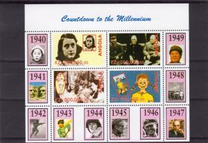 Angola 1999 Countdown to the Millennium/Churchill/Anna Frank/Pippi Shlt (4) Perf
