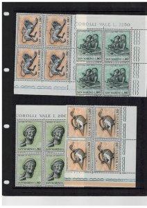 San Marino MNH Selection of Blocks of Four - Post office Fresh