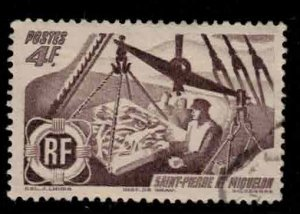 ST PIERRE & MIQUELON Scott # 336 Used 1 - Fishermen Weighing the Catch