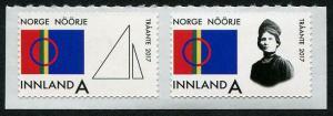 HERRICKSTAMP NEW ISSUES NORWAY Sc.# 1814a Sami Flag Self-Adh. Pair