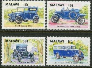 MALAWI Sc#562-565 1990 Classic Cars Complete Set OG Mint Hinged