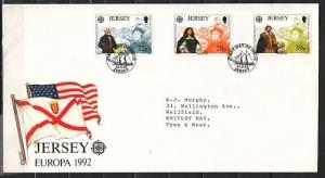 Jersey, Scott cat. 593-595. Discovery of America & Columbus. First day cover.