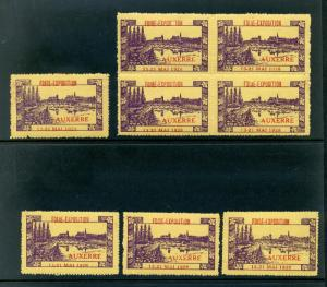 8 VINTAGE 1928 AUXERRE FIORE FAIR EXPO  POSTER STAMPS (L768) AUXERRE FRANCE