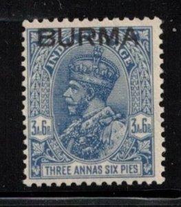 BURMA Scott # 8 MH - KGV India Stamp With Overprint