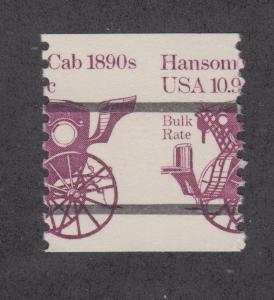 US Sc 1904a MNH. 1981 10.9c Hansom Cab coil Precancel, MISPERF, lt. offset