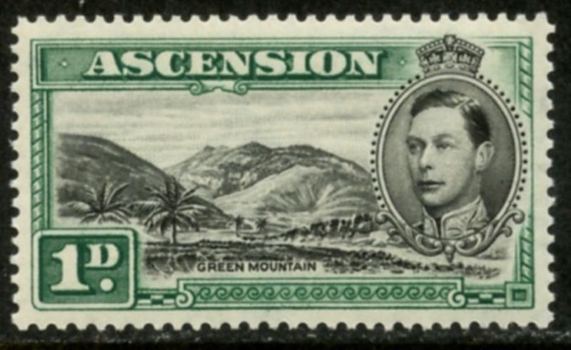 ASCENSION Sc#41 SG#39 1938 black and green GREEN MOUNTAIN Mint OG LH
