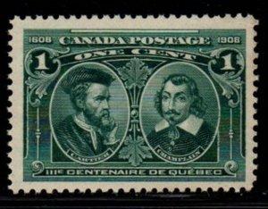 Canada Sc 97 1908 1c Cartier & Champlain stamp mint NH