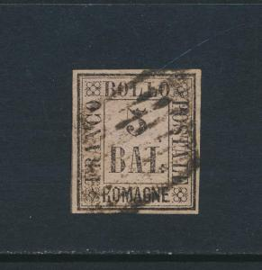 ROMAGNA ITALY 1859, 5b BLACK/GREY VIOLET VF USED Sc#6 CAT$400 (SEE BELOW)