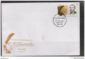 RO) 2012  BICENTENNIAL BIRTHDAY-WRITER CIRILO VILLAVERDE, FIRST DAY COVER. ( II