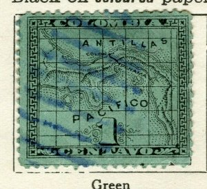 PANAMA; 1887 early Map issue fine used 1c. value