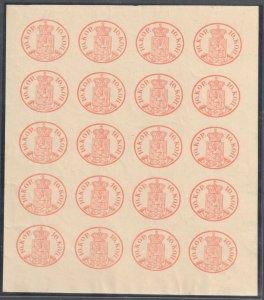 Finland #2 XF Full Sheet of 20  - REPRINT 1892 C$1700,00 ++