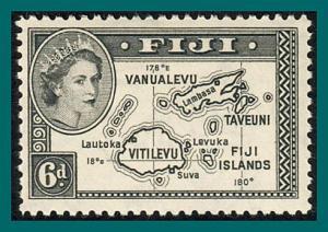 Fiji 1954 Map, 6d mint  #154,SG287