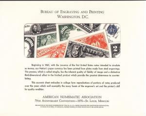 {BJ Stamps} BEP B 7 Souvenir Card, ANA '70, Currencu collage, unused w/envelope