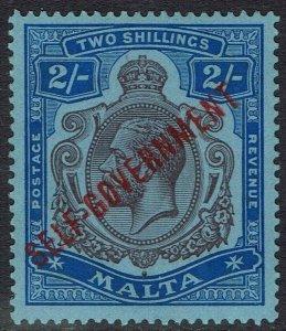 MALTA 1922 SELF GOVERNMENT 2/- KGV WMK MULTI CROWN CA
