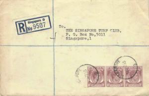 Singapore 10c KGVI (3) 1955 Singapore, G Registered to Singapore Turf Club, S...