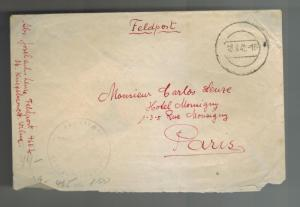 1942 Cover Blue Division Soldier Russian Front WW 2 Feldpost to paris France