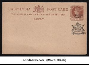 FARIDKOT STATE - REPLY POST CARD- 1/4a QV EAST INDIA - OVPT - MINT INDIAN STATE