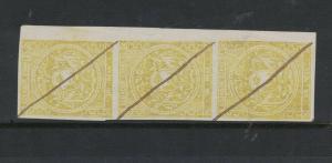 Ecuador SC 3 Strip of Three, Pen Defaced MOG (5dvt)