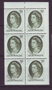 J24233 JLstamps 1963-5 australia mnh #365a booklet pane of 6 queen