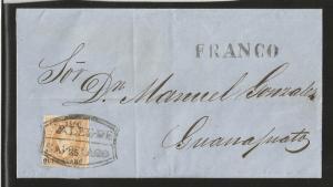 J)1866 MEXICO, 25C BUFF, QUERETARO CONS 03-1866 (ERROR FOR 3