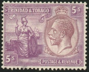 TRINIDAD & TOBAGO-1922-28 5/- Dull Purple & Mauve Sg 228 LMM V48461