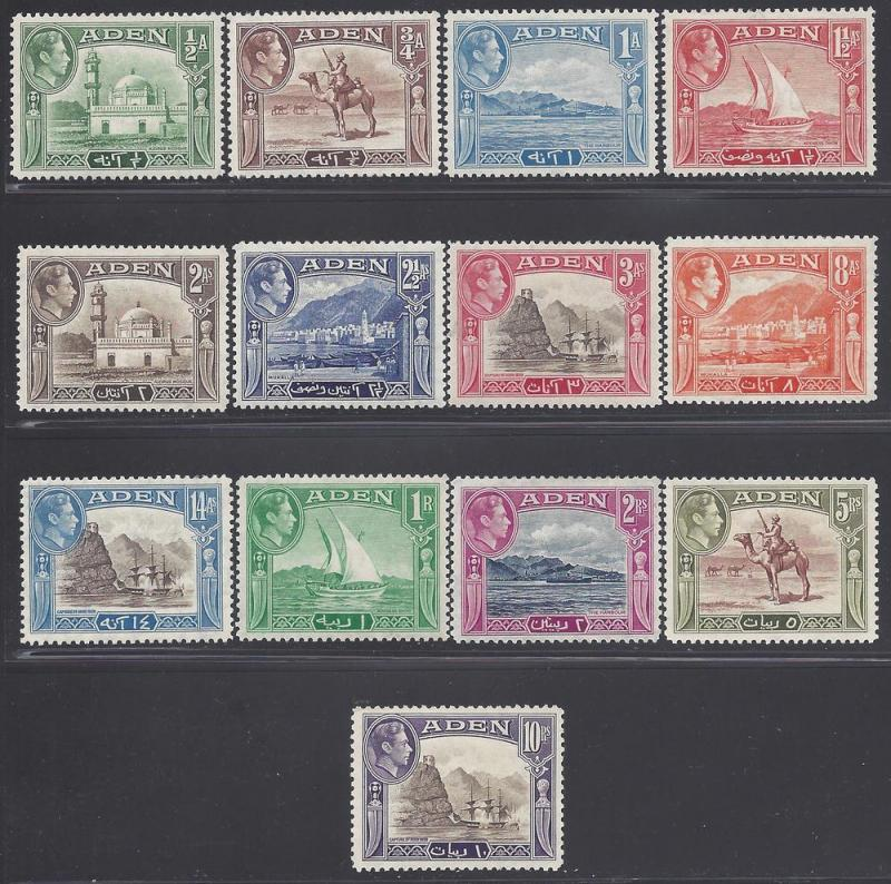 ADEN-1939-48 Sc#16-27a  ½a to 10/- set of 13 Mint VLH