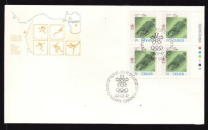 Canada-Sc#1198-stamps on FDC-LR Plate Block-Sports-Winter Olympics-Bobsled-1988-