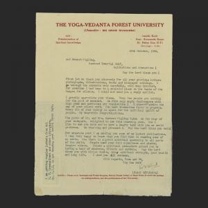 Air Letter of H.H. Swami Sivananda Saraswati (8 September 1887 – 14 July 1963),