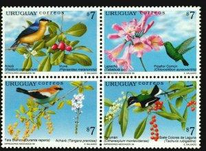 Birds flowering trees Native hummingbird FAUNA URUGUAY Sc#1789 MNH STAMP CV$6.50