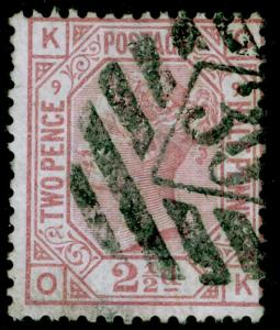 SG141, 2½d rosy mauve PLATE 9, USED. Cat £80. OK