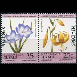 TUVALU-NANUMAGA 1985 - Scott# 33 Flowers Specimen 55c NH