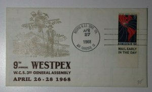 WESTPEX WCS General Assembly San Francisco CA 1968 Philatelic Expo Cachet Cover